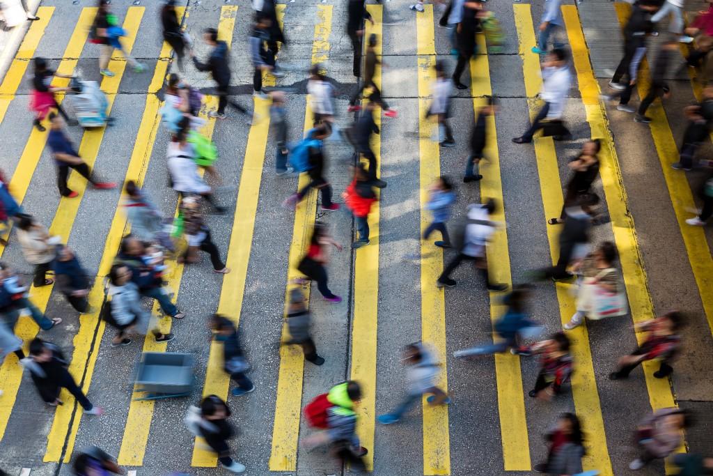 people walking along the street