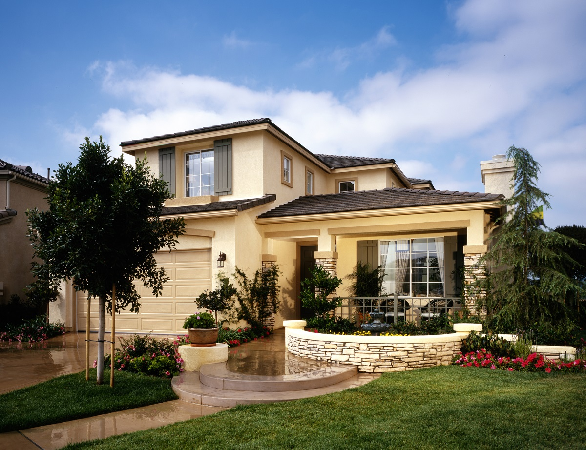 Modern exterior of house with landscaping