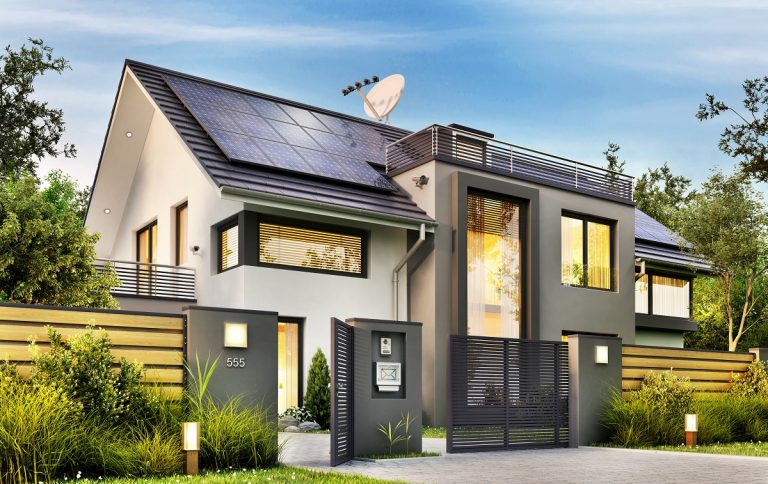 Modern home with solar panel on roof
