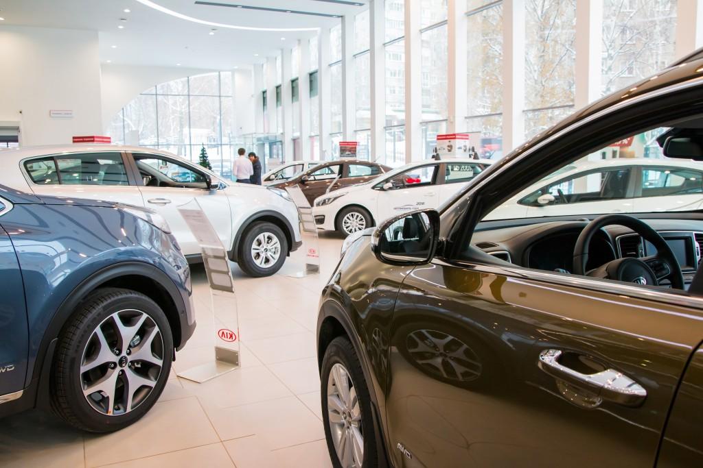 cars in a car store