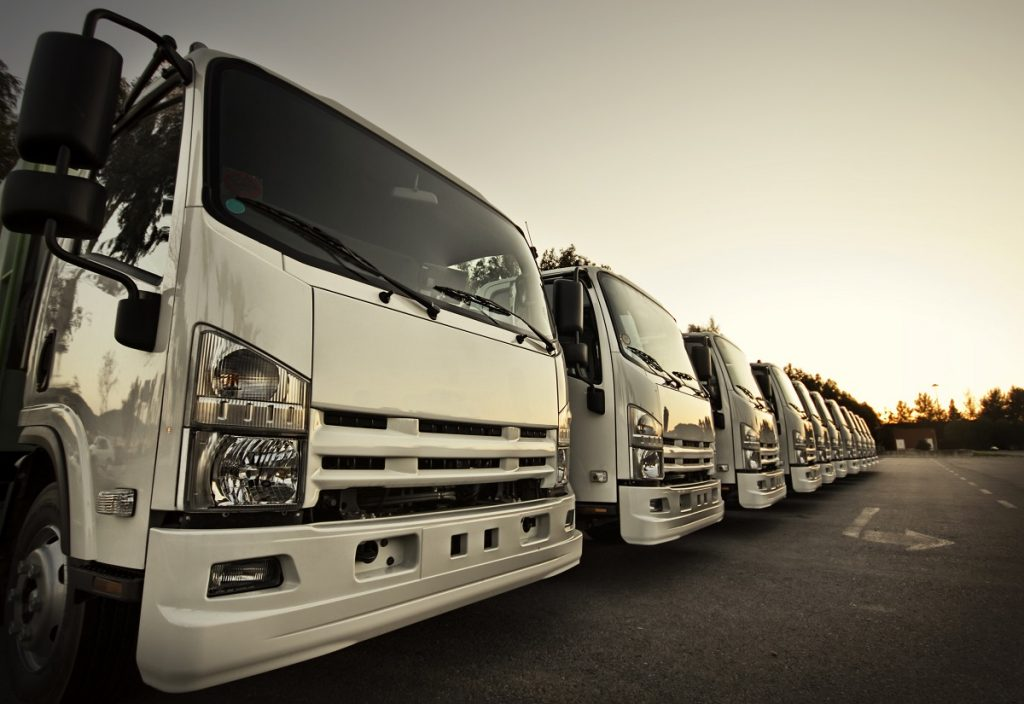 row of trucks parked