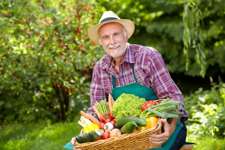 old man with his fresh produce