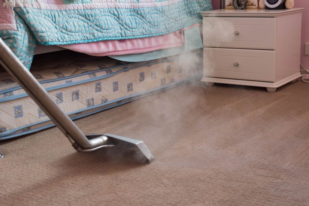 steaming the carpet