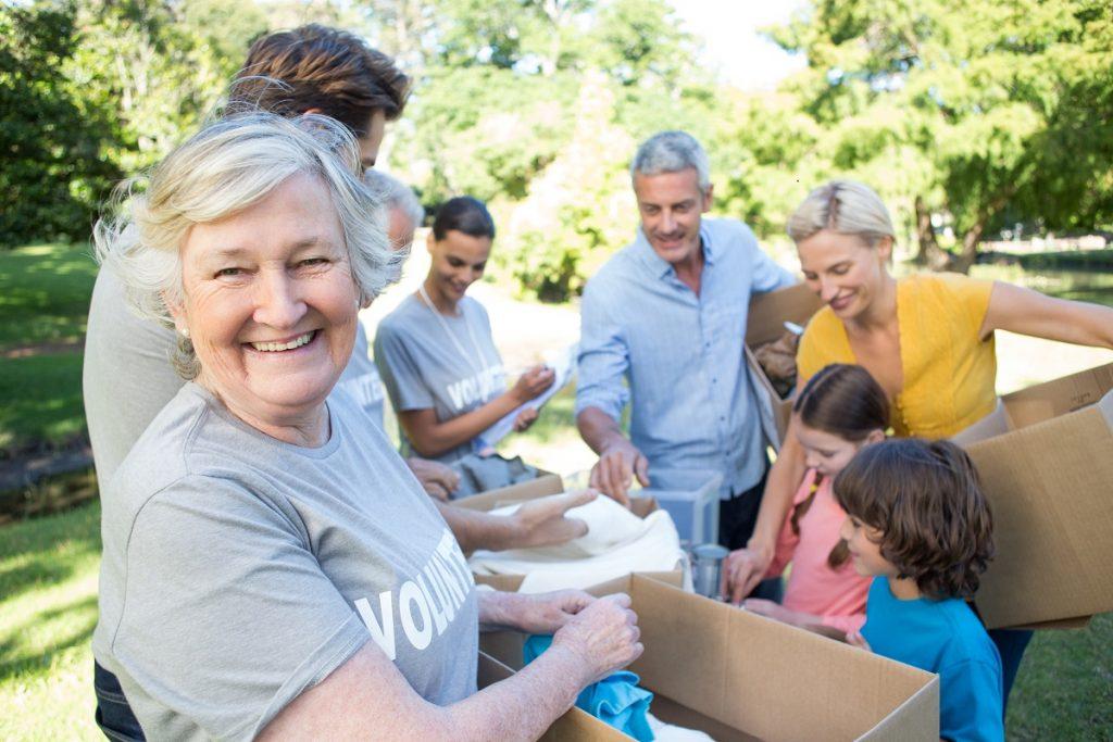 old woman volunteering