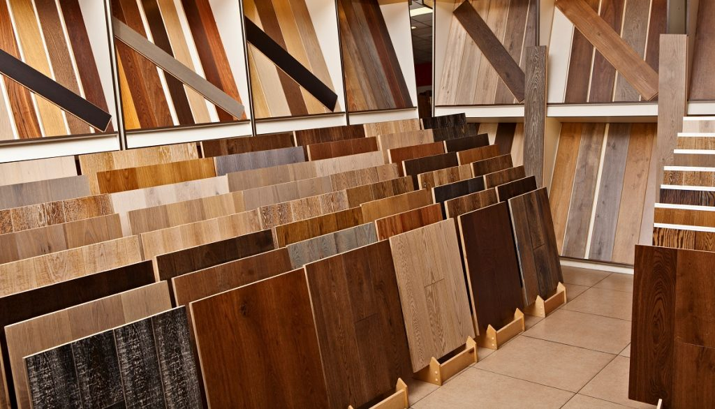 wooden floor tiles at a store
