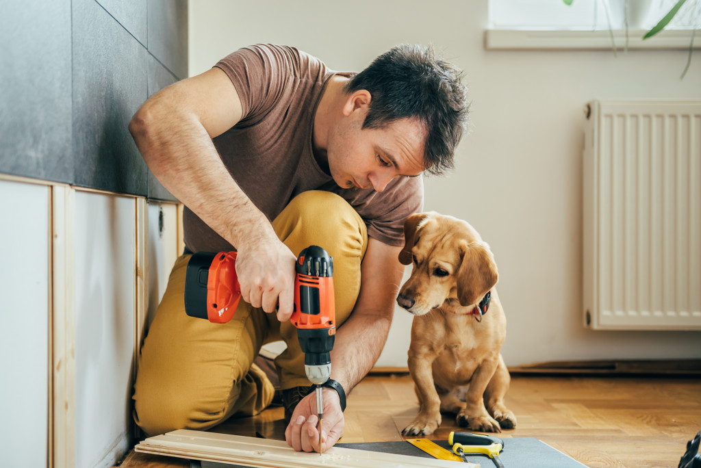 man doing renovation