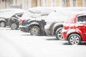 cars parked in winter
