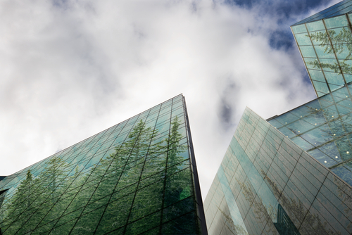 buildings with trees reflecting