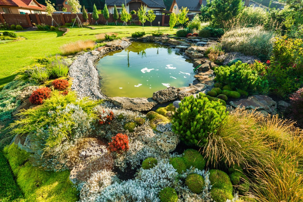 landscaping with pond