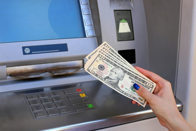 withdrawing cash from the bank