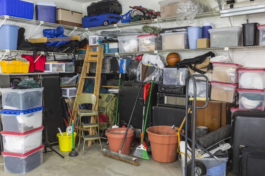 cluttered garage